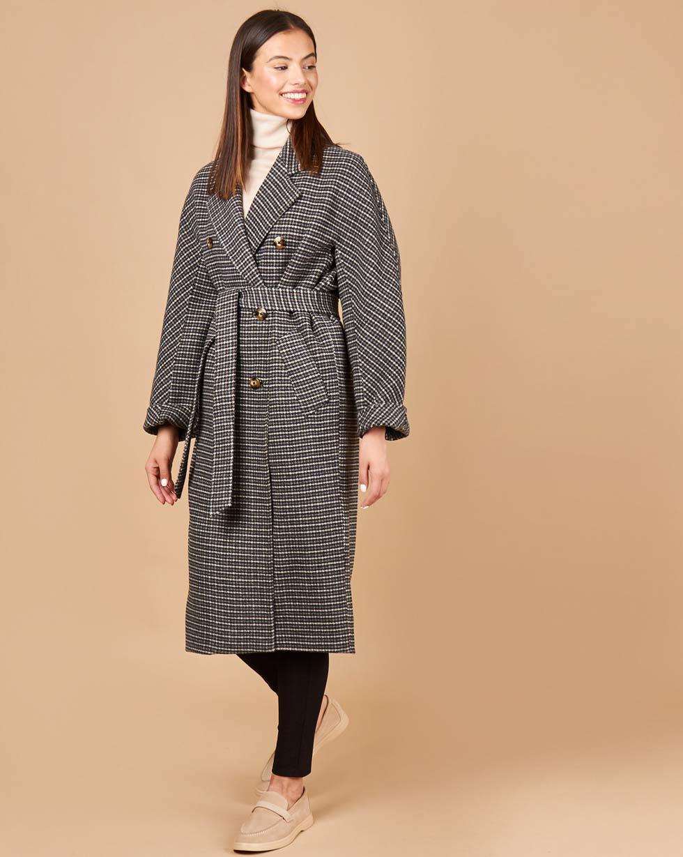 12Storeez Пальто двубортное на поясе (гусиная лапка серый) 12storeez пальто двубортное на поясе гусиная лапка серый