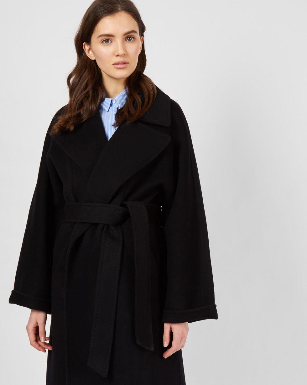 Пальто на поясе  One sizeВерхняя одежда<br><br><br>Артикул: 79912643<br>Размер: One size<br>Цвет: Чёрный<br>Новинка: НЕТ<br>Наименование en: Belted cashmere blend coat
