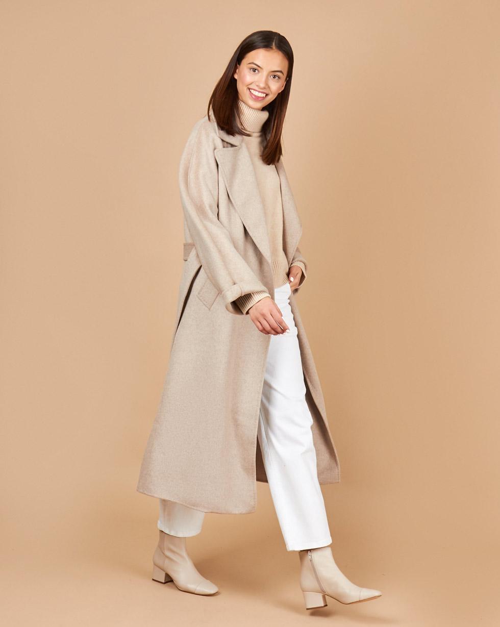 12Storeez Пальто на поясе (кофейный)