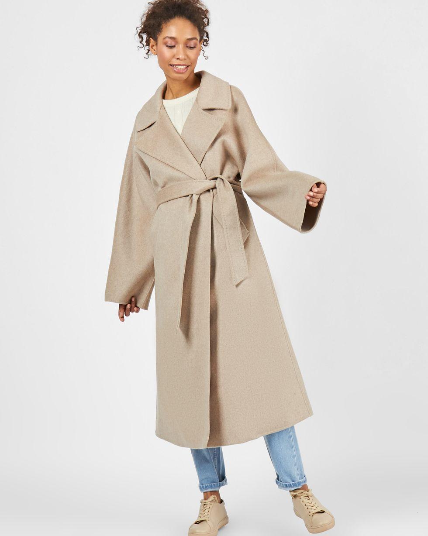 Пальто на поясе  One sizeВерхняя одежда<br><br><br>Артикул: 79912645<br>Размер: One size<br>Цвет: Кофейный<br>Новинка: НЕТ<br>Наименование en: Belted cashmere blend coat