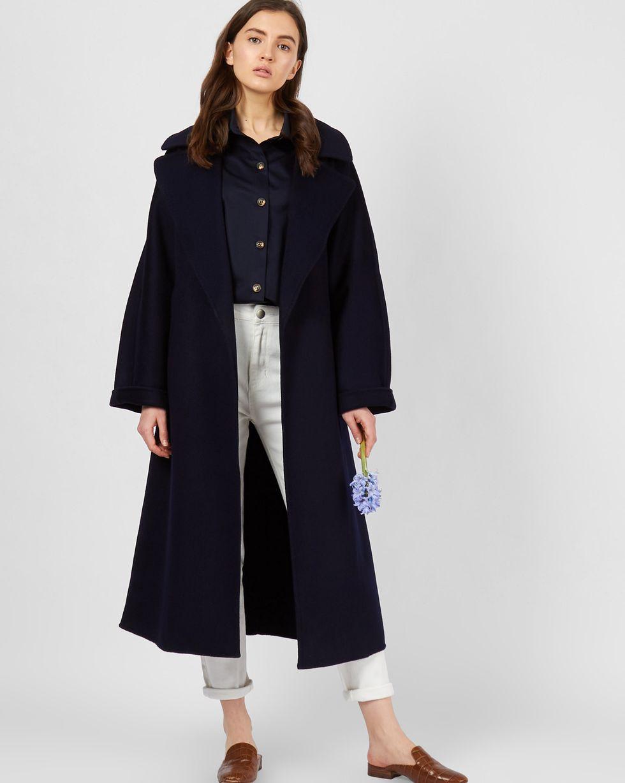 Пальто на поясе  One sizeВерхняя одежда<br><br><br>Артикул: 79912647<br>Размер: One size<br>Цвет: Темно-синий<br>Новинка: НЕТ<br>Наименование en: Belted cashmere blend coat
