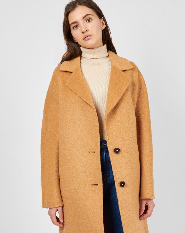 12Storeez Пальто из шерсти альпаки (кэмел) пальто драповое 30% шерсти