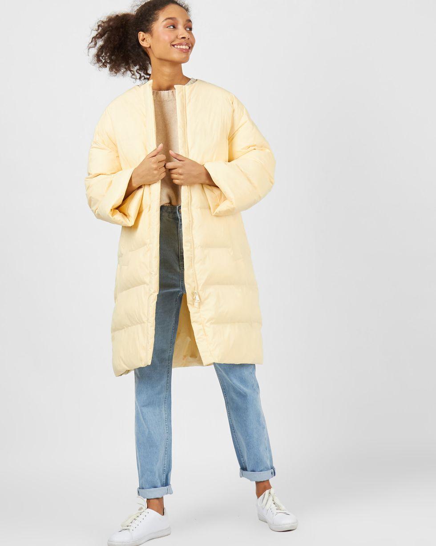 12Storeez Пальто стеганое облегченное (светло-желтый) женское облегченное пальто