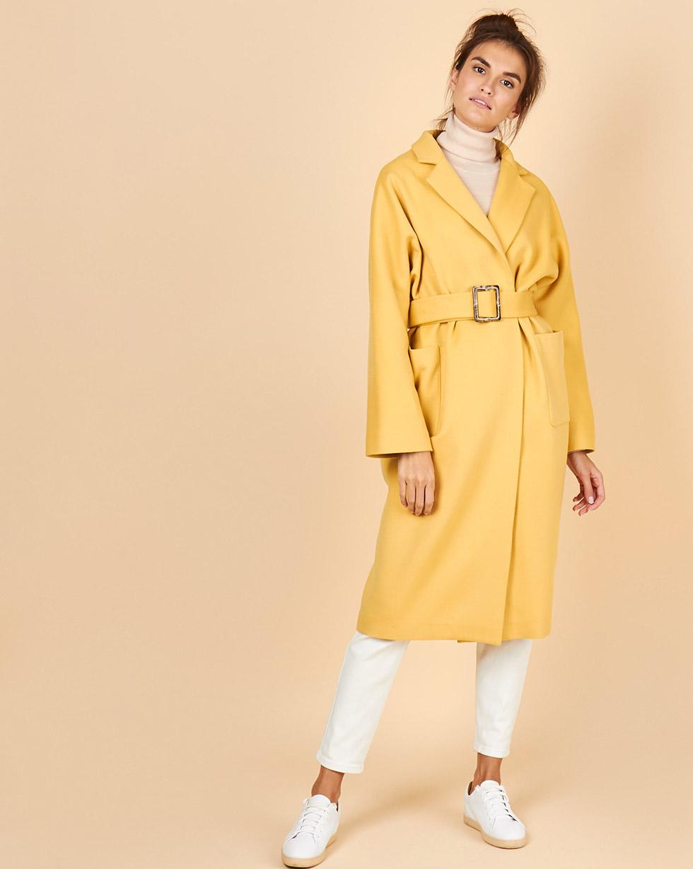 12Storeez Пальто-халат из кашемира (желтый)