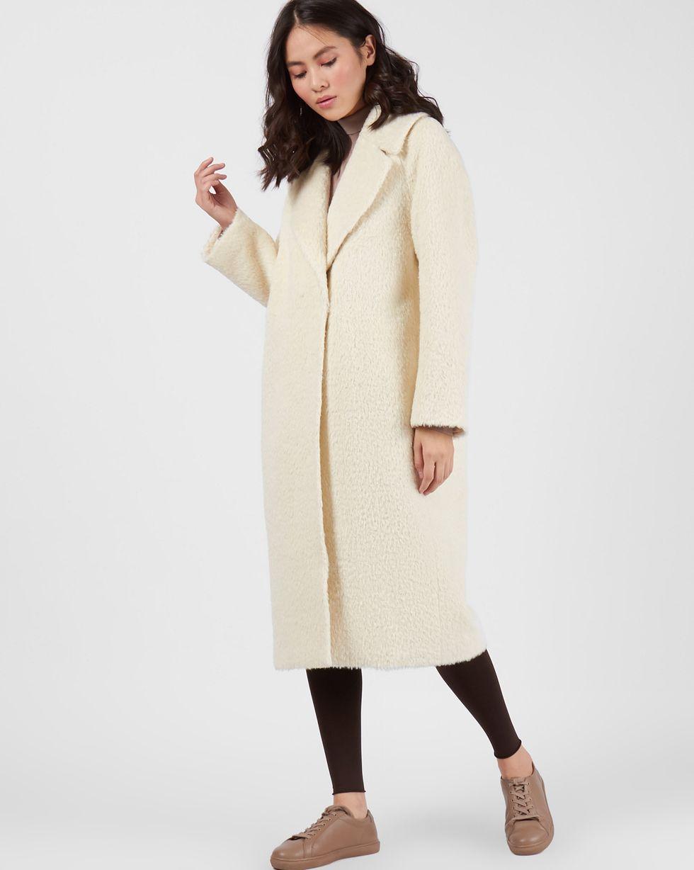12Storeez Пальто объемное из шерсти альпаки (молочный) пальто драповое 30% шерсти