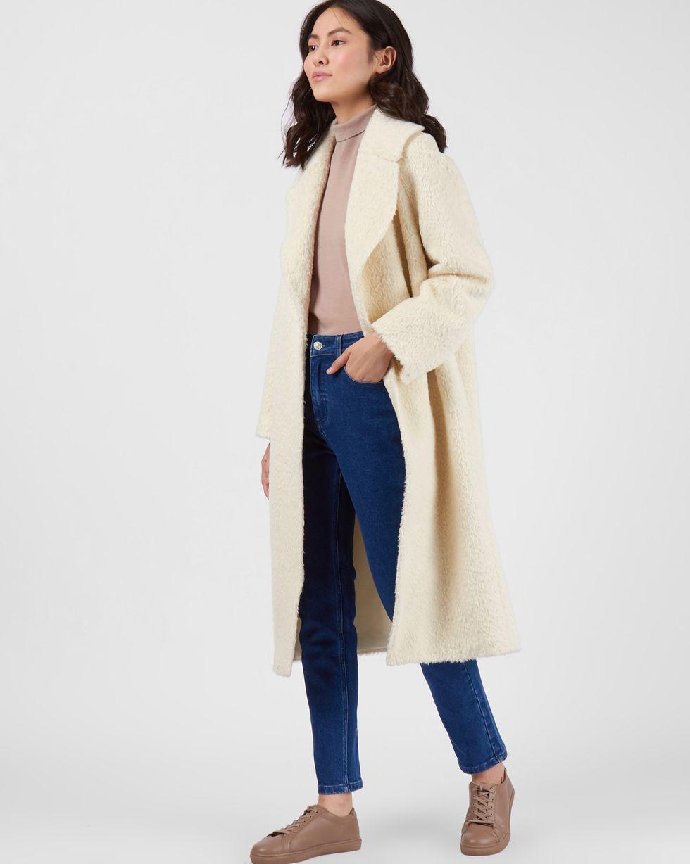12Storeez Пальто объемное из шерсти альпаки (молочный) в минске жилет из овечьей шерсти