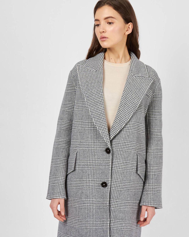 12Storeez Удлиненное пальто-пиджак в клетку (серый) пальто в мужском стиле для женщин купить