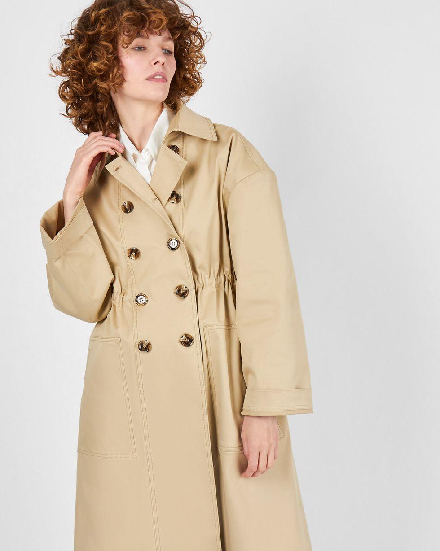 Плащ двубортный на кулиске XSВерхняя одежда<br><br><br>Артикул: 79914079<br>Размер: XS<br>Цвет: Бежевый<br>Новинка: НЕТ<br>Наименование en: Double-breasted trench coat