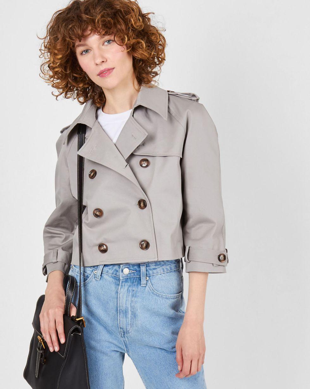 Тренч укороченный MВерхняя одежда<br><br><br>Артикул: 79914177<br>Размер: M<br>Цвет: Серый<br>Новинка: ДА<br>Наименование en: Cropped trench coat