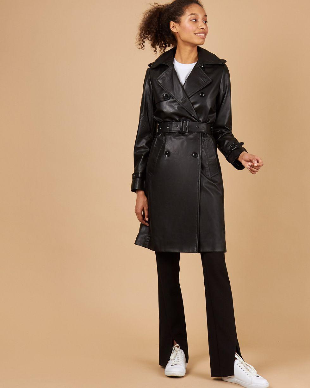 Тренч из кожи SВерхняя одежда<br><br><br>Артикул: 79914293<br>Размер: S<br>Цвет: Черный<br>Новинка: ДА<br>Наименование en: Leather trench coat