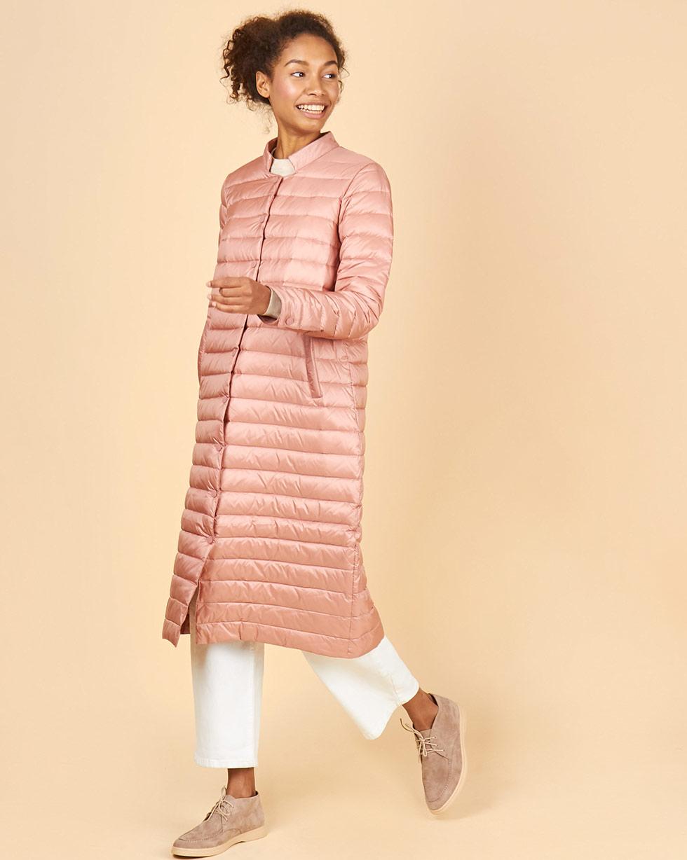 12Storeez Пальто стеганое (темно-розовый) FW18 стеганое пальто на синтепоне с отделкой мехом енота