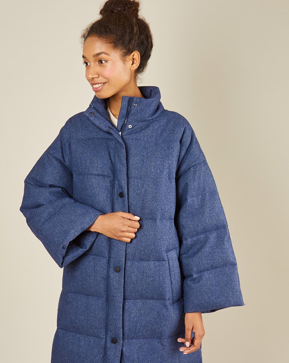 12Storeez Пальто стеганое из шерсти (темно-синий)