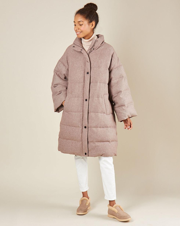 12Storeez Пальто стеганое из шерсти (кофейный)