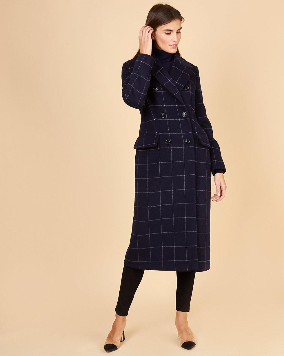 12Storeez Пальто классическое (синий в клетку)