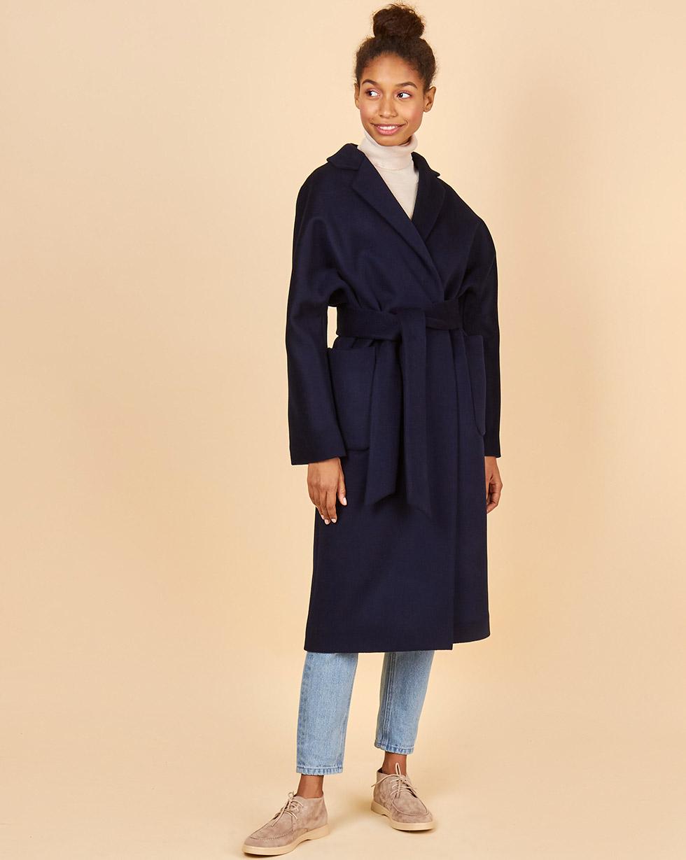 Пальто-халат с окантованными швами One size