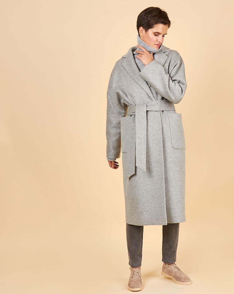 Купить со скидкой Пальто-халат с окантованными швами One size