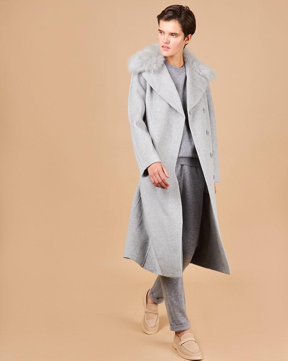 12Storeez Пальто прямое с меховым воротником (серый)