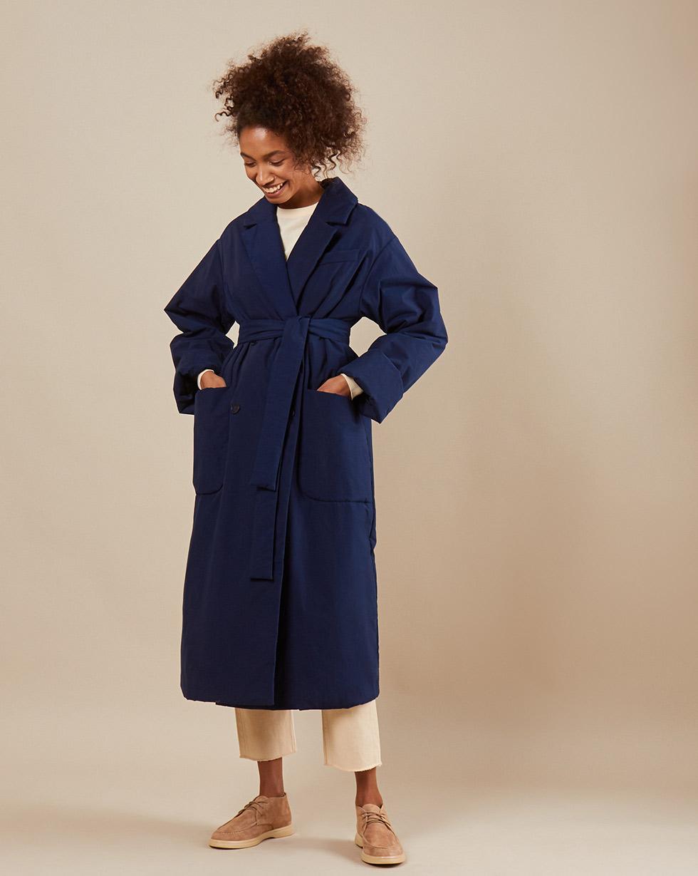 12Storeez Пальто из плащевой ткани с поясом (тёмно-синий)