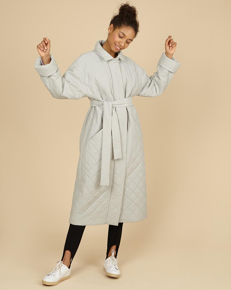 12Storeez Пальто стёганое с поясом (серый) 12storeez пальто утепленное коричневый