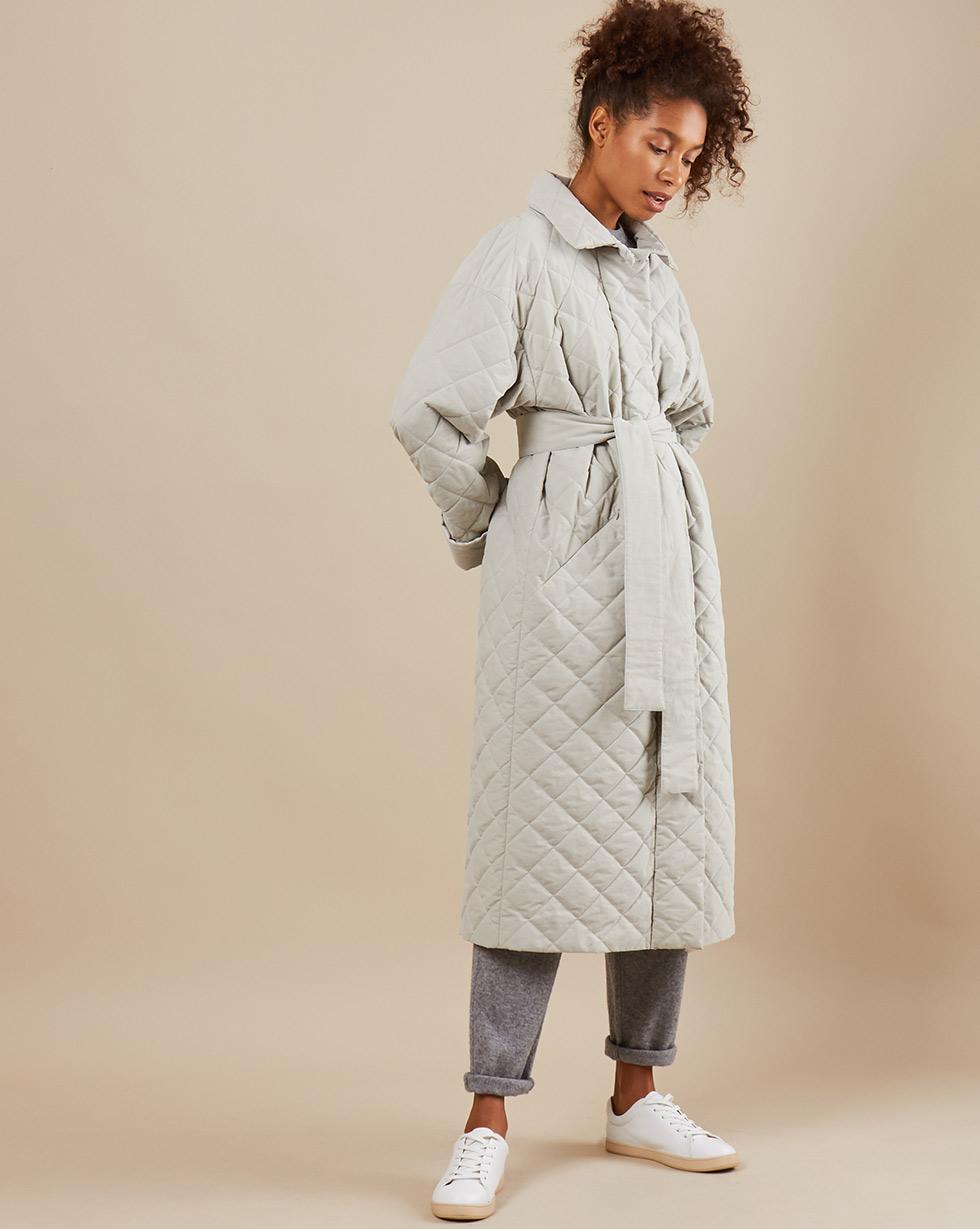 12Storeez Пальто стёганое с поясом (серый)
