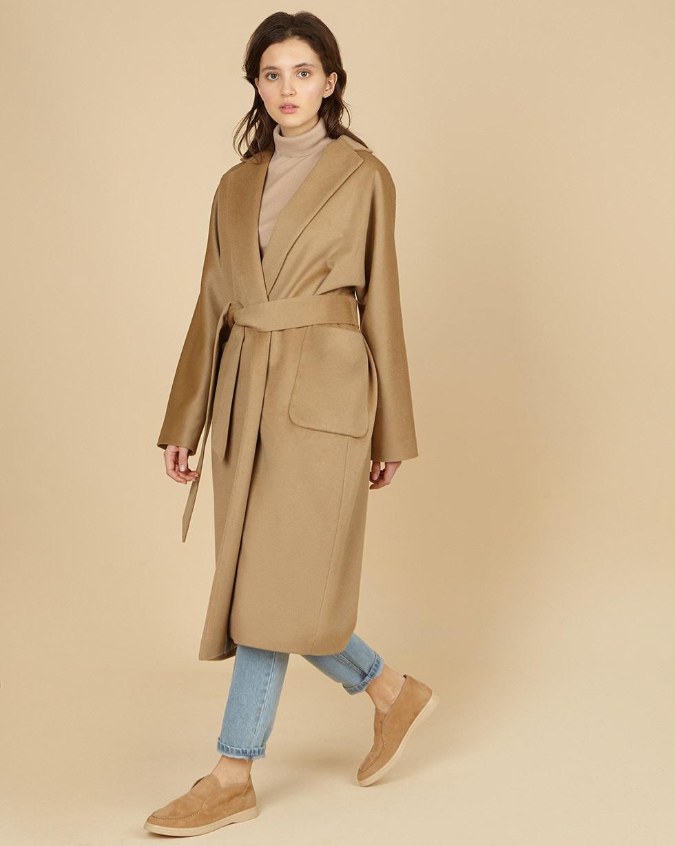 12Storeez Пальто-халат с поясом (песочный) цена