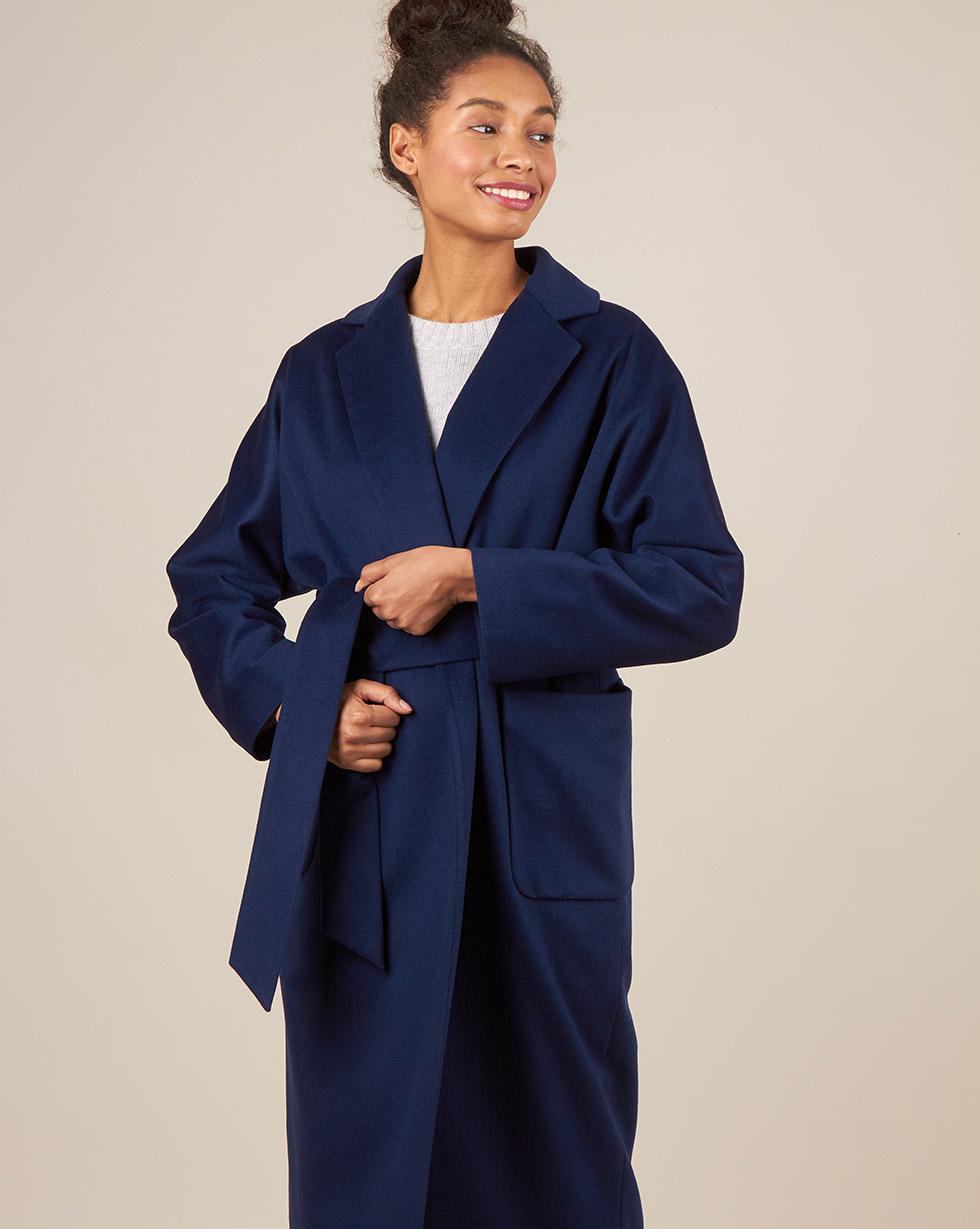 12Storeez Пальто-халат с поясом (синий)