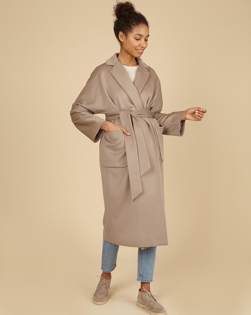 12Storeez Пальто-халат с поясом (кофейный) 12storeez пальто на поясе кофейный