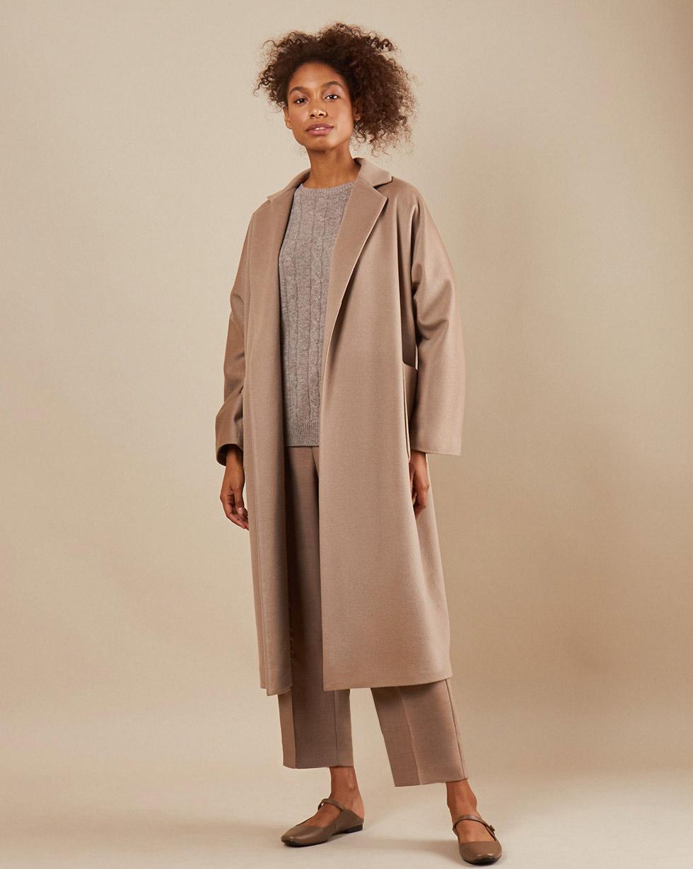 12Storeez Пальто-халат с поясом (кофейный)