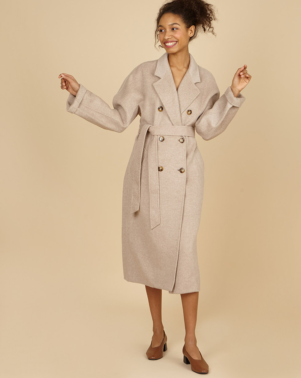 12Storeez Пальто двубортное на поясе с шелком (кофе с молоком) SS19 12storeez пальто на поясе черный ss19