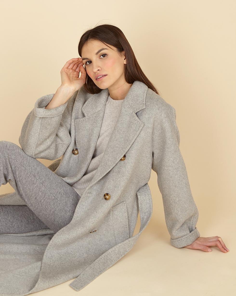 12Storeez Пальто двубортное на поясе с шелком (светло-серый) SS19 12storeez пальто двубортное на поясе темно горчичное