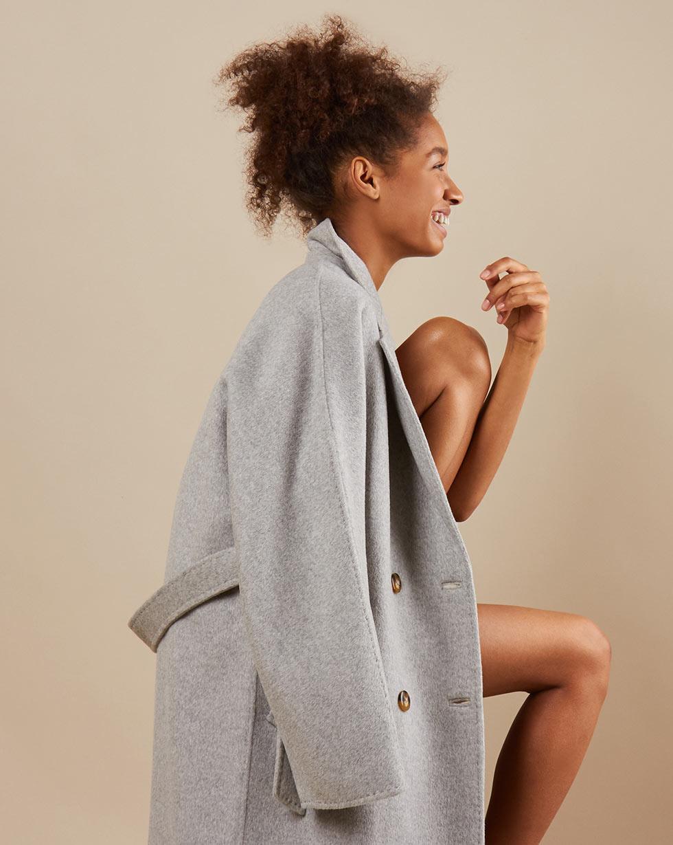12Storeez Пальто двубортное на поясе с шелком (светло-серый) SS19