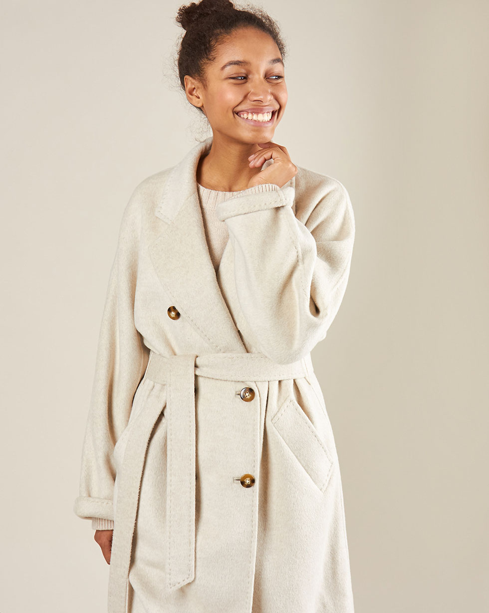 12Storeez Пальто двубортное на поясе c шёлком (молочный) AW18-19