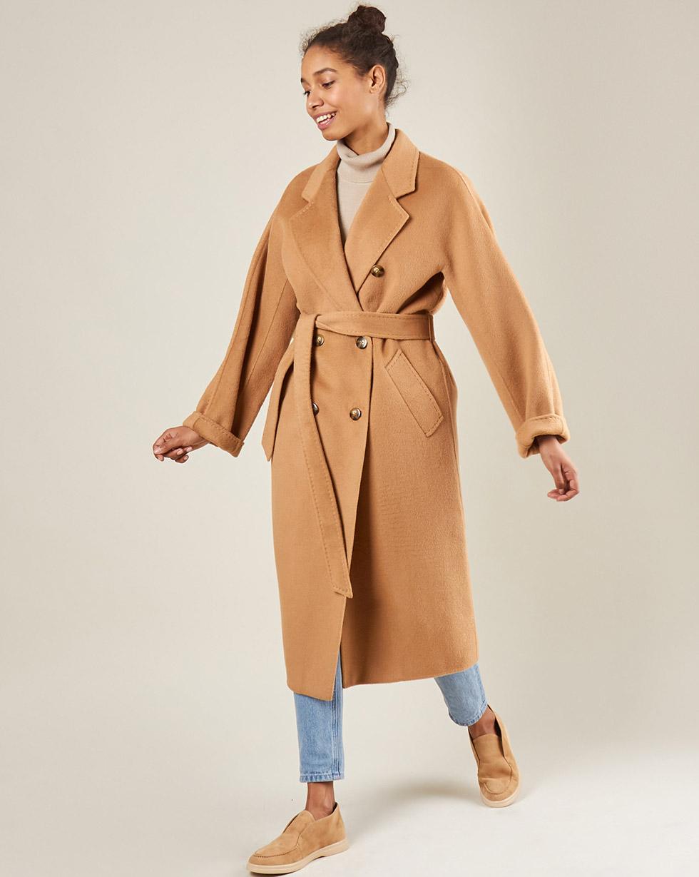 12Storeez Пальто двубортное на поясе c шёлком (кэмел) AW18 12storeez пальто двубортное на поясе темно горчичное