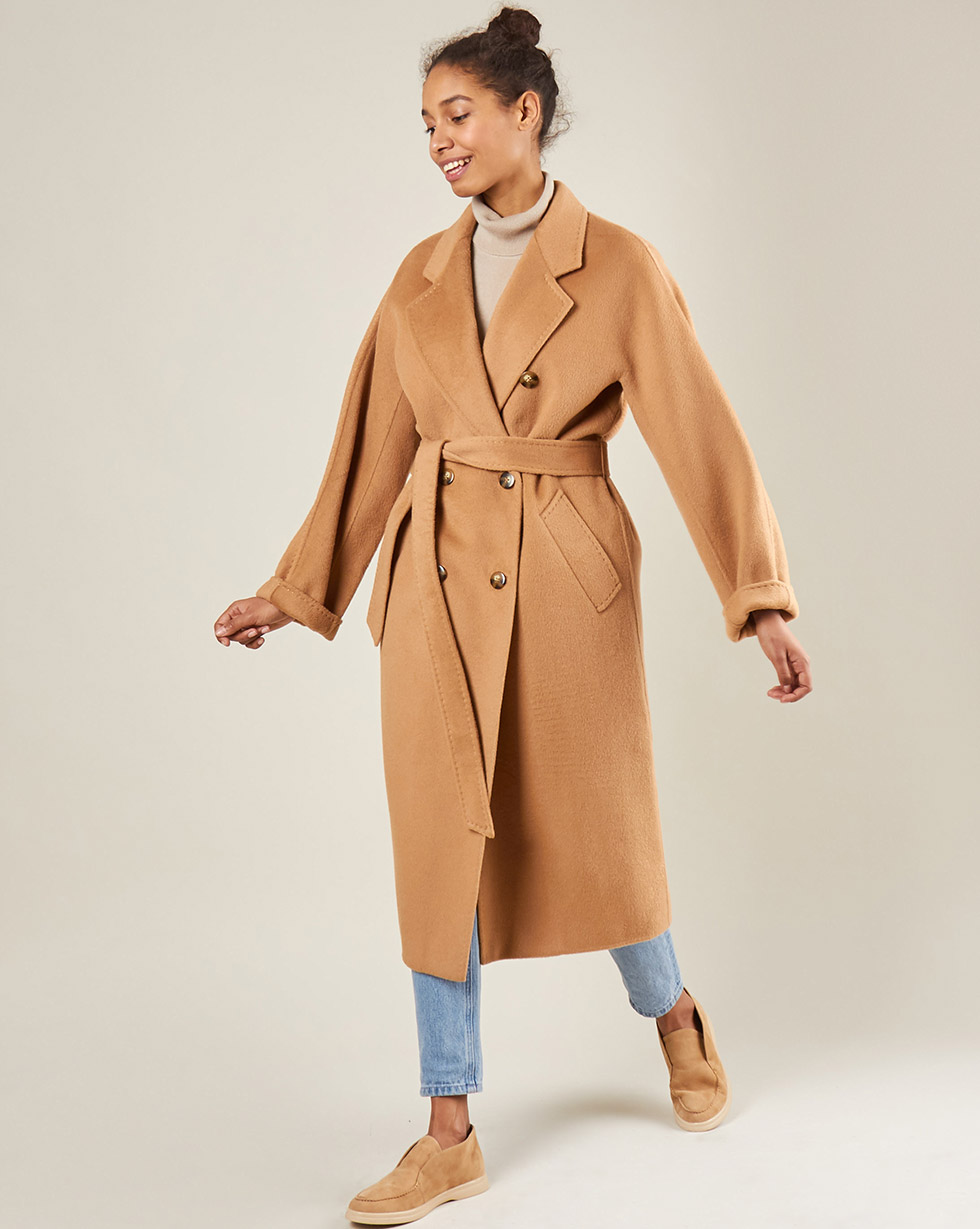12Storeez Пальто двубортное на поясе c шёлком (кэмел) AW18