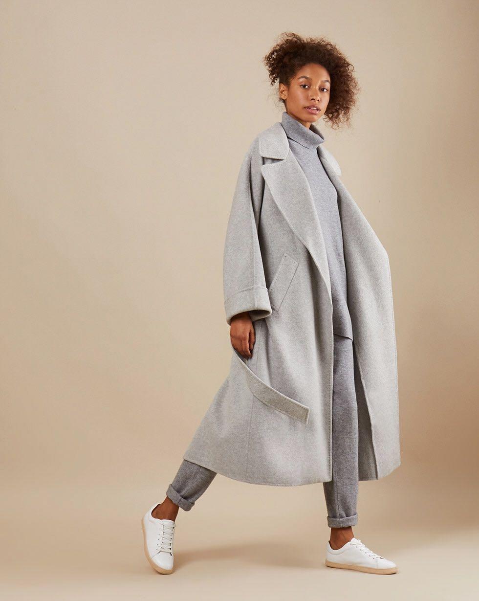12Storeez Пальто на поясе c шёлком (светло-серый) AW18-19