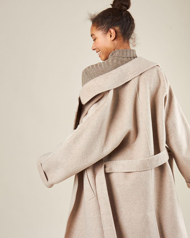 12Storeez Пальто на поясе c шёлком (кофе с молоком) AW18-19