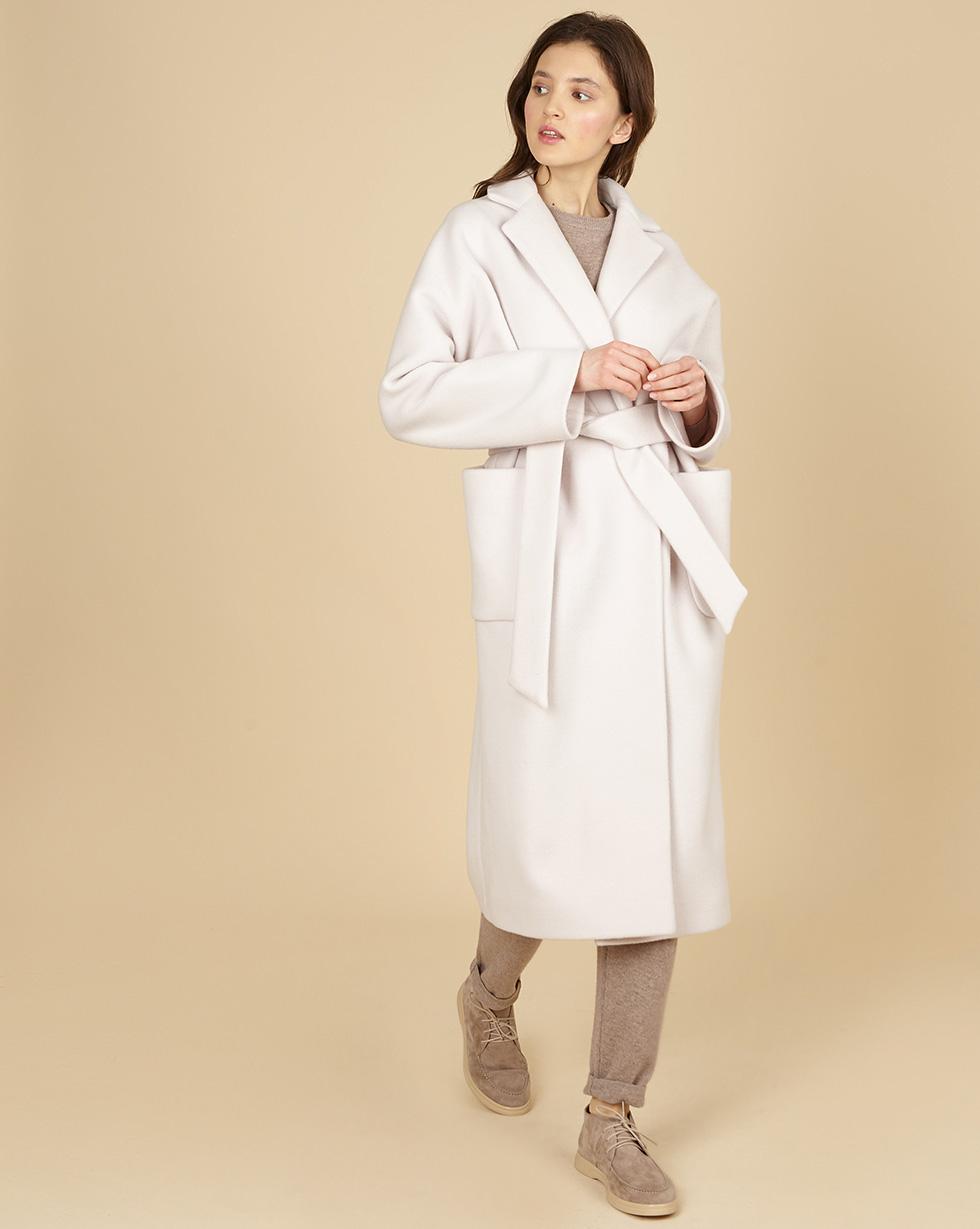 12Storeez Пальто-халат с окантованными швами с поясом (молочный) пальто с поясом icon