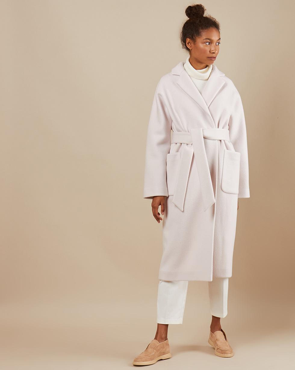 12Storeez Пальто-халат с окантованными швами поясом (молочный)