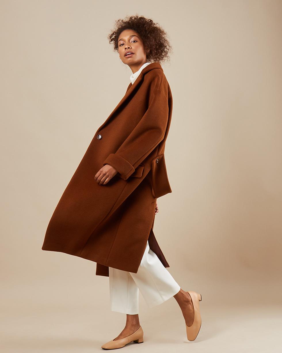 12Storeez Пальто зауженное книзу (коричневый)