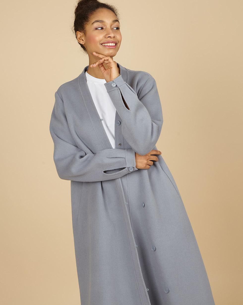 12Storeez Пальто с асимметричной застежкой (серо-голубой) SS19 12storeez пальто на поясе черный ss19