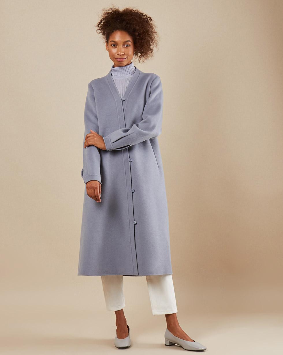 12Storeez Пальто с асимметричной застежкой (серо-голубой) SS19