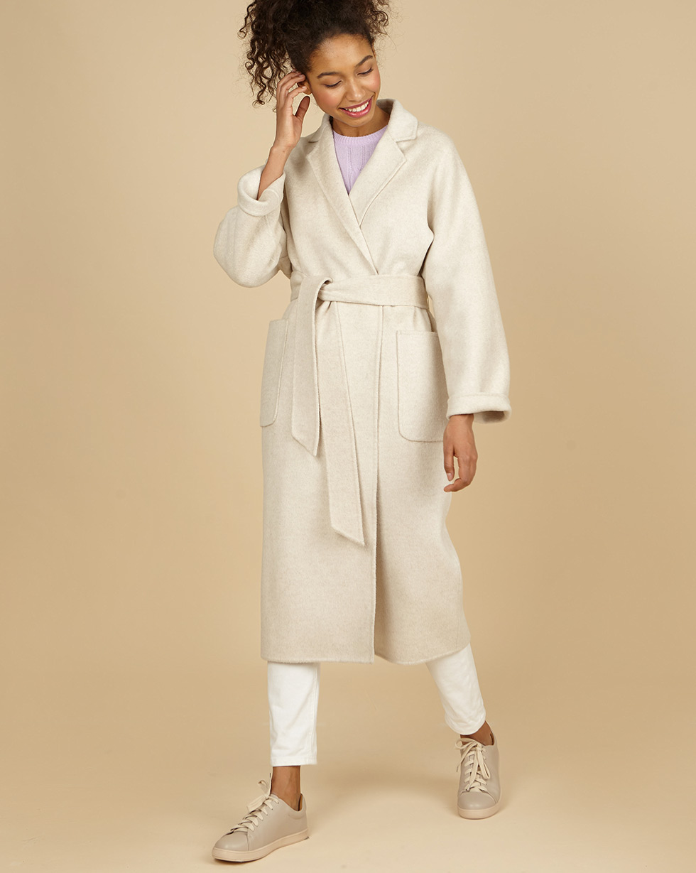 12Storeez Пальто-халат с шелком (молочный) SS19