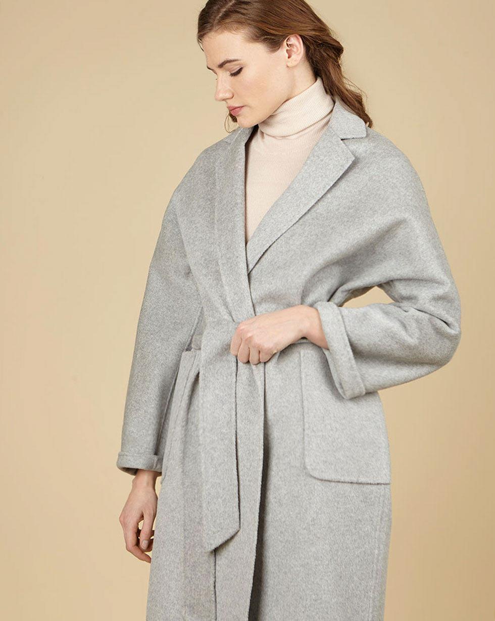 12Storeez Пальто-халат с шелком (светло-серый) SS19 12storeez пальто халат из кашемира желтый