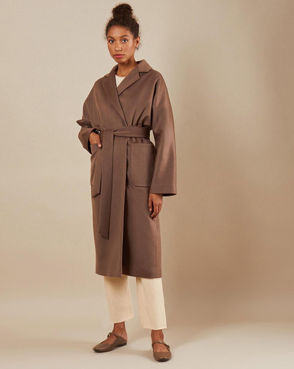 12Storeez Пальто-халат на подкладке с поясом (коричневый) 12storeez пальто халат из кашемира желтый