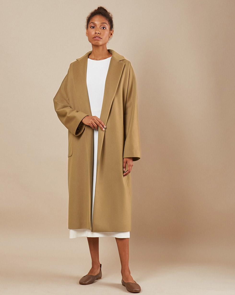 12Storeez Пальто-халат на подкладке с поясом (бежевый)