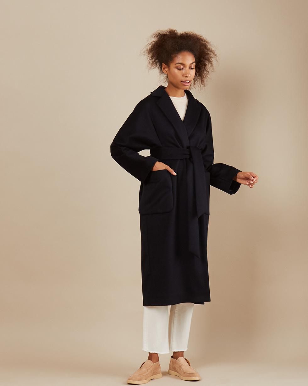 12Storeez Пальто-халат на подкладке с поясом (чёрный)