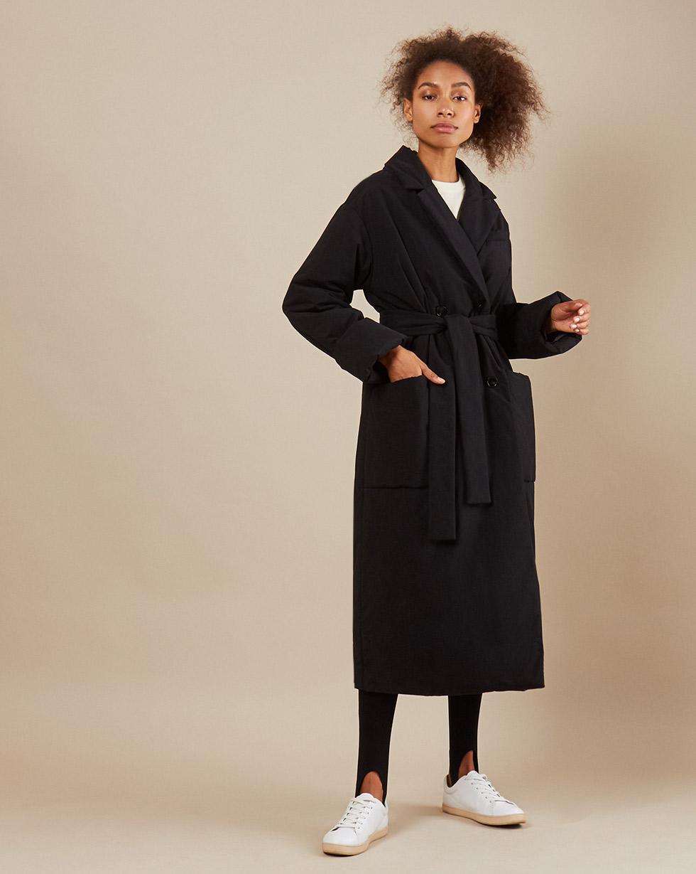 12Storeez Пальто утеплённое из плащевой ткани с поясом (черный)