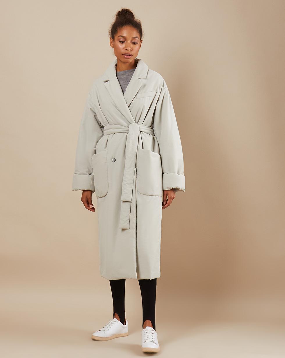 12Storeez Пальто утеплённое из плащевой ткани с поясом (светло-серый)