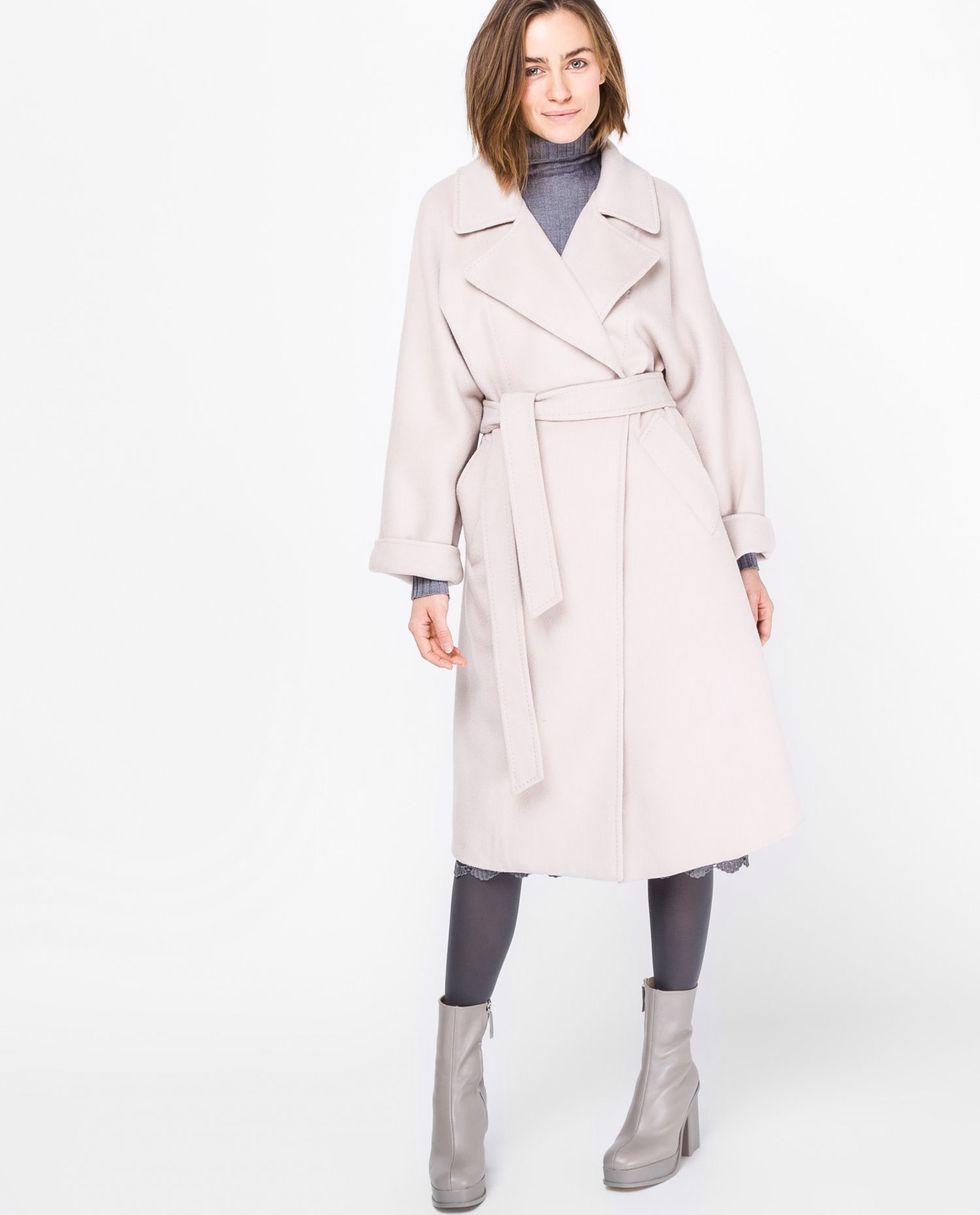 12Storeez Пальто на поясе (молочное)