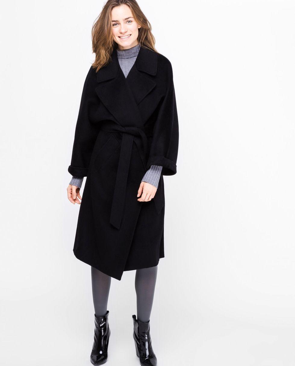 12Storeez Пальто на поясе (черное) 12storeez пальто двубортное на поясе черное